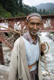 印度,山,旅行,画象,人,村庄,工作,河, Manali,桥梁, 图库摄影