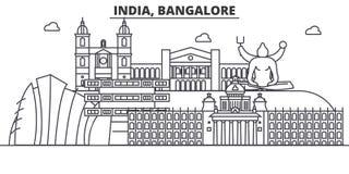 印度,班格洛建筑学线地平线例证 与著名地标的线性传染媒介都市风景,城市视域 免版税库存照片