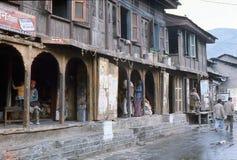 1977年 印度 从库尔卢镇的街道场面  免版税库存图片