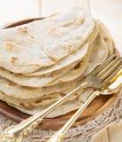 印度素食食物平原薄饼roti 图库摄影