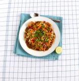 印度` s普遍的街道食物Masala普里 免版税库存照片