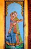 印度jaisalmer绘画墙壁 免版税图库摄影