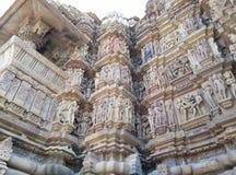 印度kama khajuraho sutra寺庙寺庙 免版税图库摄影