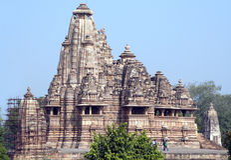 印度khajuraho lakshmana寺庙 库存照片