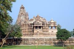 印度khajuraho lakshmana寺庙 免版税库存照片
