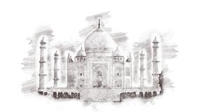 印度mahal taj 手拉的铅笔地标剪影,隔绝在白色背景 库存照片