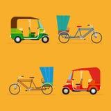 印第安人力车 自动人力车和pedicab 免版税图库摄影图片