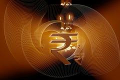 印第安卢比符号 库存照片