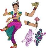 印第安女孩 舞蹈演员 有莲花的手 Mehndi Puranas sanskrit 莎丽服 皇族释放例证