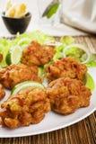 印第安开胃菜葱Bhajias 库存照片