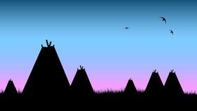 印第安当地帐篷村庄 向量例证