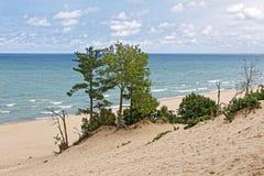 印第安纳在密歇根湖` s海岸线的沙丘 免版税库存照片