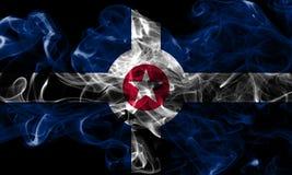 印第安纳波利斯市烟旗子,印第安纳状态,上午美国  免版税库存图片