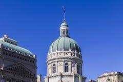 印第安纳波利斯-大约2017年3月:印第安纳状态议院和国会大厦圆顶 它安置州长、汇编和最高法院我 免版税库存图片
