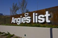 印第安纳波利斯-大约2015年10月:安吉尔的名单公司办公室和总部我 免版税图库摄影