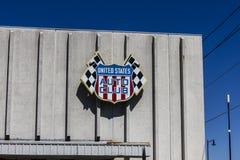 印第安纳波利斯-大约2016年9月:美国汽车俱乐部总部 USAC在美国II认可许多汽车比赛 免版税库存照片