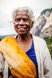 印第安老妇人 年长皱痕 库存图片