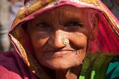 印第安老非常村民妇女 免版税库存照片