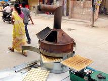 印第安街道食物场面 库存图片