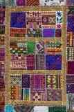 印第安补缀品地毯在拉贾斯坦 印度 免版税库存照片