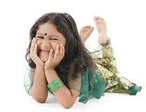 印第安语楼层的女孩位于的一点 库存照片