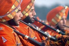 印第安语的吹风笛者 免版税库存图片