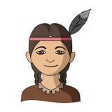 印第安语 在动画片样式传染媒介标志股票例证网的人种唯一象 皇族释放例证