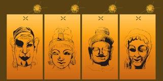 印第安语4个的神 向量例证