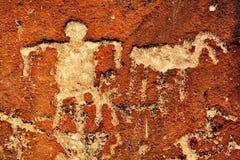 印第安刻在岩石上的文字 库存照片