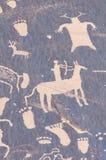 印第安刻在岩石上的文字 库存图片
