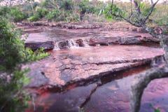 印花经纱瀑布,国立公园Canaima,委内瑞拉 图库摄影