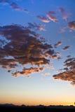 印象深刻的日落在沙漠在亚利桑那 免版税图库摄影