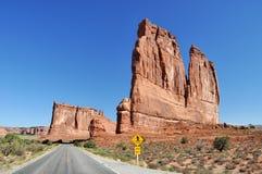 印象深刻的砂岩塔在拱门国家公园称`器官` 免版税库存照片