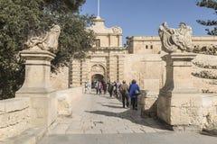 印象深刻的入口向马耳他的姆迪纳 图库摄影