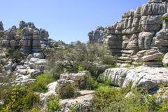 印象深刻的石灰岩地区常见的地形风景在西班牙 免版税图库摄影