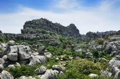 印象深刻的石灰岩地区常见的地形风景 免版税库存照片