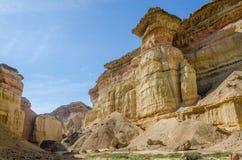 印象深刻的自然峡谷在安哥拉的纳米贝省沙漠 免版税库存图片