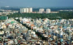 印象panaromic亚洲市在天 库存照片