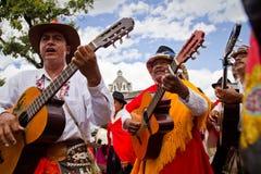 印锑秘鲁货币单位Raymi庆祝在卡扬贝火山,厄瓜多尔 免版税库存图片