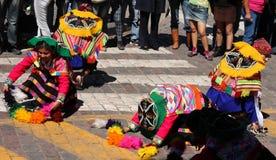 印锑秘鲁货币单位Raymi节日的,库斯科舞蹈家 免版税库存图片