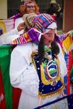 印锑秘鲁货币单位Raymi celebation在里奥班巴,厄瓜多尔 库存照片