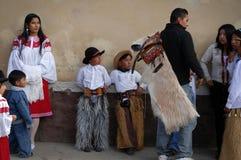 印锑秘鲁货币单位Raymi celebation在Tabacundo,厄瓜多尔 免版税库存照片