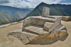 印锑秘鲁货币单位Watana,天文学时钟 Machu Picchu 秘鲁 免版税库存照片
