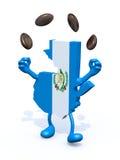 危地马拉地图变戏法者用咖啡豆 免版税图库摄影