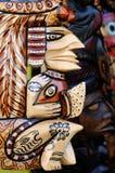 危地马拉,玛雅黏土面具在市场上 免版税库存图片