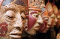 危地马拉,玛雅黏土面具在市场上 免版税图库摄影