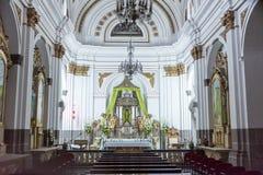 危地马拉- 2017年11月21日:危地马拉城大教堂内部在危地马拉城 库存照片