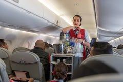 危地马拉- 2017年11月22日:AeroMexico飞机、客舱乘员组工作和Provinding食物 库存图片