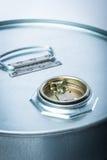 危险化学制品的钢鼓 免版税库存照片