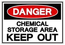 危险化工贮存区把标志标志,传染媒介例证,在白色背景标签的孤立关在外面 EPS10Danger化学制品 皇族释放例证